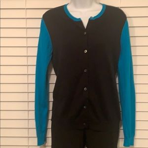 Uniglo crew neck black/turquoise cotton cardigan